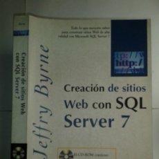 Libros de segunda mano: CREACIÓN DE SITIOS WEB CON SQL SERVER 7 INCLUYE CD-ROM 2000 JEFFRY BYRNE 1ª EDICIÓN PRENTICE HALL . Lote 180476497