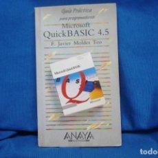 Libros de segunda mano: MICROSOFT QUICKBASIC 4.5 - GUÍA PRÁCTICA PARA PROGRAMADORES - ANAYA 1991. Lote 211924708