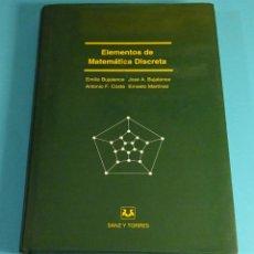 Libros de segunda mano: ELEMENTOS DE MATEMÁTICA DISCRETA. BUJALANCE / MARTINEZ / COSTA. Lote 217049683