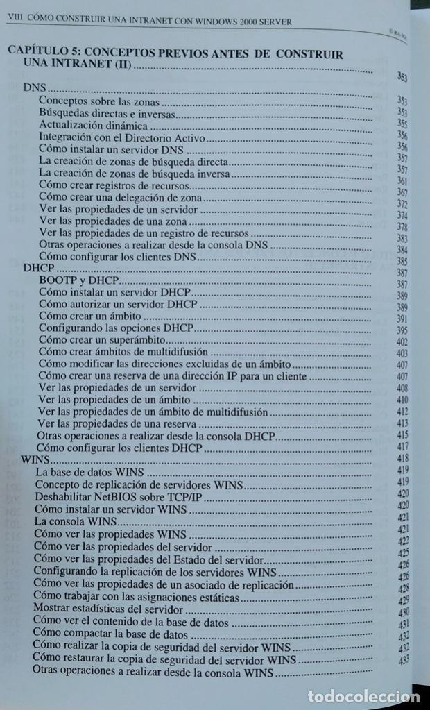 Libros de segunda mano: CÓMO CONSTRUIR UNA INTRANET CON WINDOWS SERVER 2000. José Luís RAYA, LAURA RAYA. RA-MA. - Foto 6 - 219609555