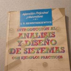 Livros em segunda mão: INTRODUCCION AL ANALISIS Y DISEÑO DE SISTEMAS ANAYA. Lote 228920162