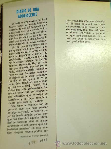 Libros de segunda mano: DIARIO DE UNA ADOLESCENTE. JOSÉ MARÍA CAÑAS. PRODUCCIONES EDITORIALES 1976. EROTISMO, EMBARAZO. ++++ - Foto 2 - 27421896