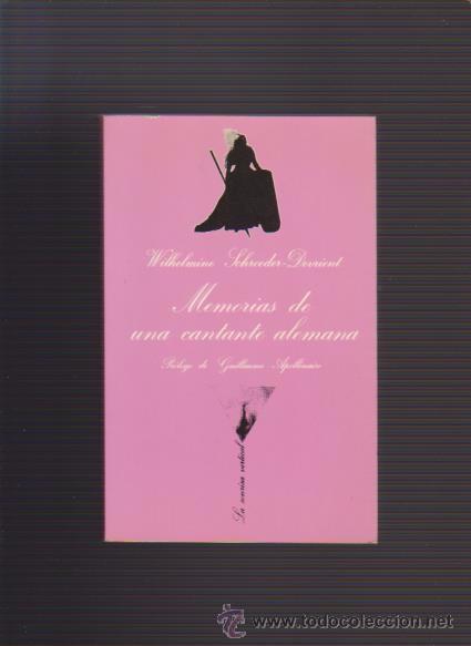 MEMORIAS DE UNA CANTANTE ALEMANA - W. S. DEVRIENT - LA SONRISA VERTICAL 1988 (Libros de Segunda Mano (posteriores a 1936) - Literatura - Narrativa - Erótica)