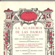 Libros de segunda mano: LA ACADEMIA DE LAS DAMAS (AKAL, 1978) FACSÍMIL. Lote 54561144