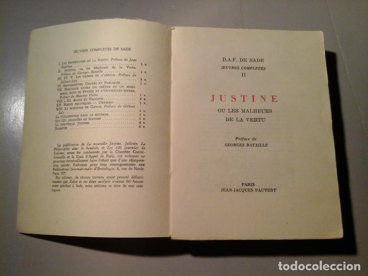 SADE. JUSTINE OU LES MALHEURS DE LA VERTU. PRÉF: GEORGES BATAILLE. J.J.PAUVERT 1962.EROTISMO.RARO. (Libros de Segunda Mano (posteriores a 1936) - Literatura - Narrativa - Erótica)