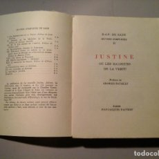 Libros de segunda mano: SADE. JUSTINE OU LES MALHEURS DE LA VERTU. PRÉF: GEORGES BATAILLE. J.J.PAUVERT 1962.EROTISMO.RARO.. Lote 63817959