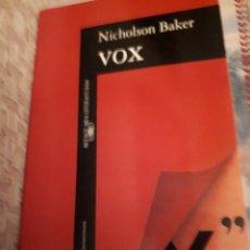 Libros de segunda mano: VOX NICHOLSON BAKER. Lote 105942591