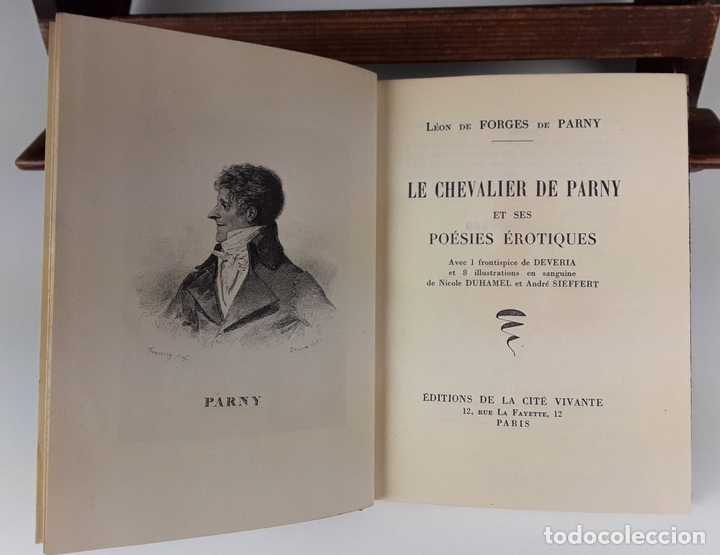 Libros de segunda mano: LE CHEVALIER DE PARNY ET SES POÉSIES ÉROTIQUES. L. DE FORGES. IMP CHANTENAY. 1949. - Foto 3 - 107635155
