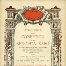 Libros de segunda mano: CONFESIÓN DE LA SEÑORITA SAFO. ANANDRIA. AKAL EDITOR 1978. Lote 121729699
