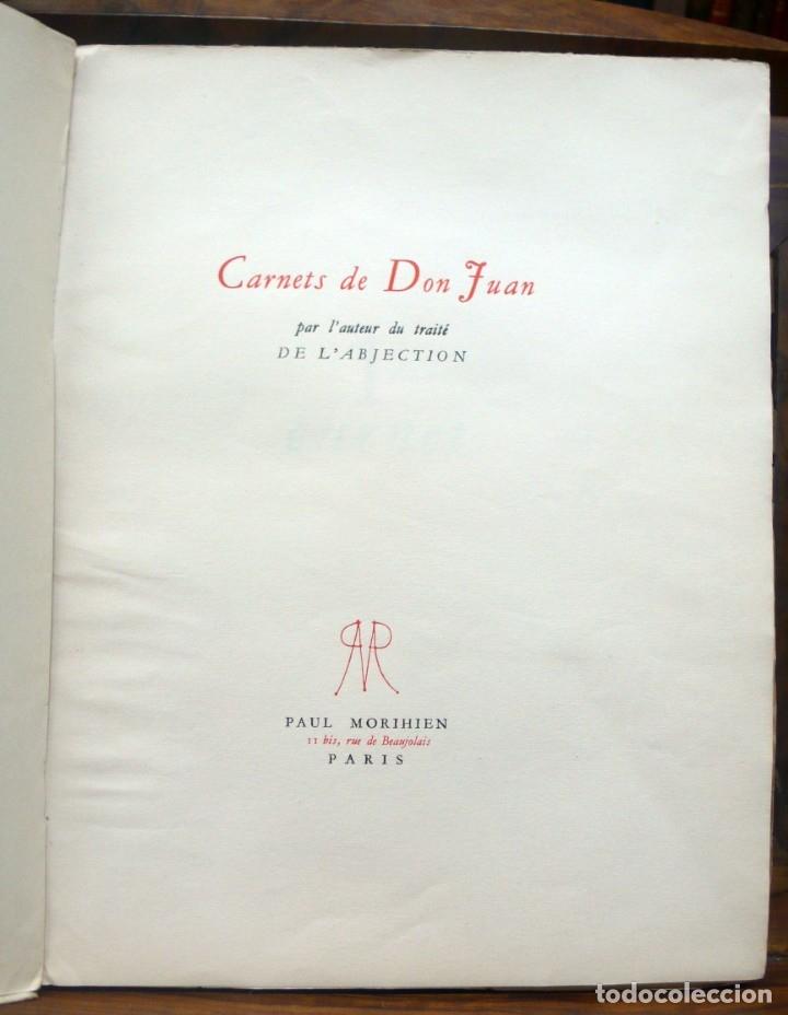 Libros de segunda mano: CARNETS DE DON JUAN. - [JOUHANDEAU, Marcel.] - Paris, 1947. - Foto 2 - 123266562
