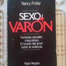 Libros de segunda mano: SEXO: VARÓN. FANTASÍAS SEXUALES MASCULINAS: EL TRIUNFO DEL AMOR SOBRE LA VIOLENCIA - NANCY FRIDAY. Lote 172788538