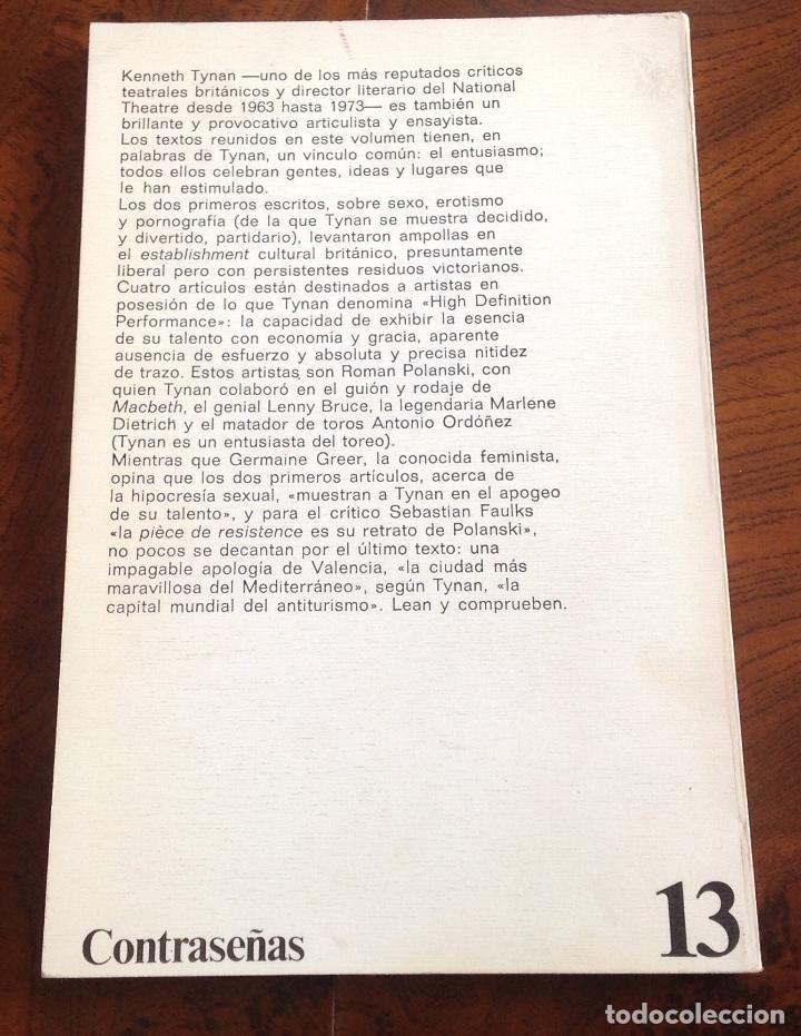Libros de segunda mano: La pornografia,Valencia,Lenny,Polanski y otros entusiasmos. Kenneth Tynan.Anagrama. - Foto 2 - 176478969