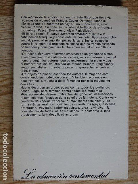Libros de segunda mano: El nuevo desorden amoroso Pascal Bruckner y Alain Finkielkraut Editorial Anagrama año 1979 - Foto 2 - 182759440
