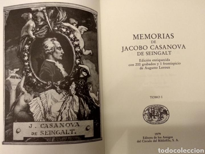 Libros de segunda mano: MEMORIAS DE JACOBO CASANOVA DE SEINGALT. Círculo del Bibliófilo, 1979. Obra completa, 6 tomos. - Foto 8 - 194339752