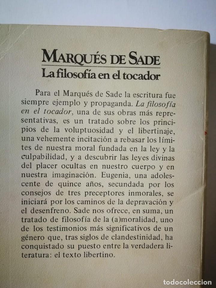 Libros de segunda mano: LA FILOSOFÍA EN EL TOCADOR. MARQUES DE SADE - Foto 2 - 198298147