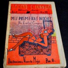 Libros de segunda mano: MIS PRIMERAS NOCHES. EMILIO CAMPOS. LA NOVELA DORADA. AÑO II Nº 28.. Lote 204173952