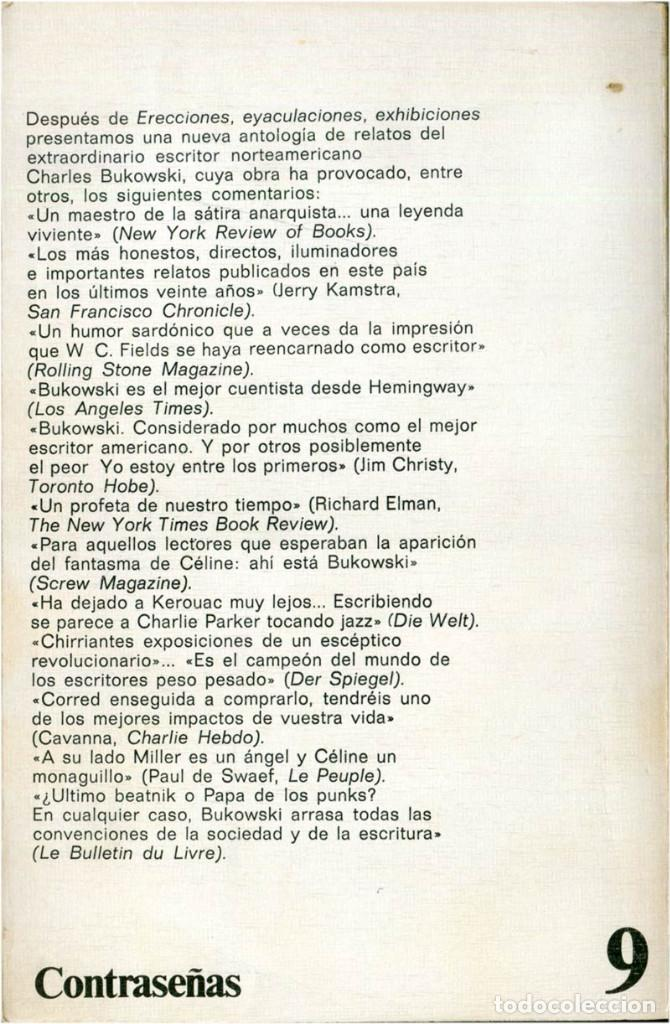 Libros de segunda mano: Bukowski - La máquina de follar - Ed. Anagrama, Contraseñas #9 - Barcelona, 1982 (3ª Ed.) - Foto 2 - 209392731