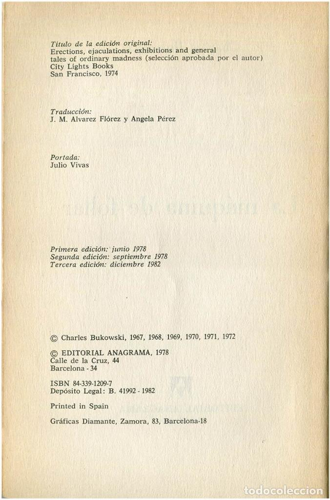 Libros de segunda mano: Bukowski - La máquina de follar - Ed. Anagrama, Contraseñas #9 - Barcelona, 1982 (3ª Ed.) - Foto 4 - 209392731