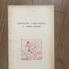 Libros de segunda mano: ESPRONCEDA PORNOGRÁFICO Y OTROS POEMAS CUADERNOS DE POESÍA SIGNOS 1991 ERÓTICA SICALÍPTICA. Lote 286160588