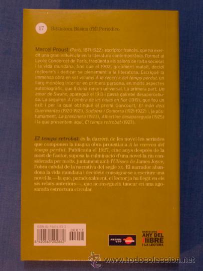 Libros de segunda mano: EL TEMPS RETROBAT. MARCEL PROUST. Biblioteca Bàsica d'El Periódico nº 17. Edicions 62, 2005 - Foto 2 - 39909192