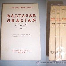 Libros de segunda mano: GRACIÁN, BALTASAR. EL CRITICÓN. Lote 40216823