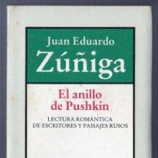 Libros de segunda mano: EL ANILLO DE PUSHKIN. JUAN EDUARDO ZÚÑIGA. EDITORIAL BRUGUERA, S.A. BARCELONA. 1983.. Lote 40479982