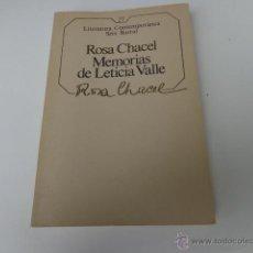 Libros de segunda mano: LIBRO MEMORIAS DE LETICIA VALLE ROSA CHACEL 1985 ED. SEIX BARRAL L-5850. Lote 41128906