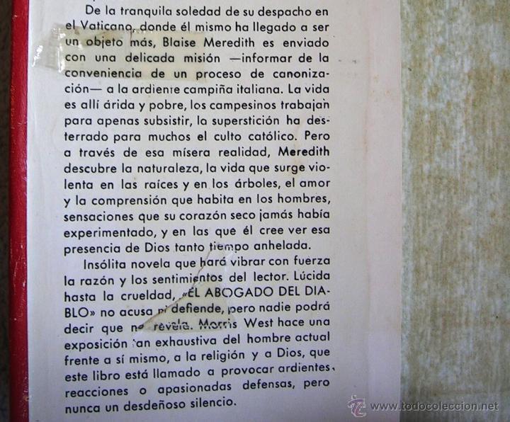 Libros de segunda mano: EL ABOGADO DEL DIABLO - MORRIS WEST. EDIT. CARALT EN 1965. - Foto 4 - 45081452