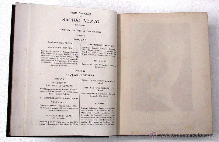 Libros de segunda mano: AMADO NERVO OBRAS COMPLETAS EN 2 TOMOS OBRAS ETERNAS 1ra EDICION ED AGUILAR MADRID AÑOS 1951 1952 - Foto 9 - 237002095