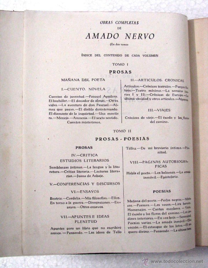 Libros de segunda mano: AMADO NERVO OBRAS COMPLETAS EN 2 TOMOS OBRAS ETERNAS 1ra EDICION ED AGUILAR MADRID AÑOS 1951 1952 - Foto 10 - 237002095