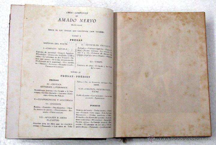 Libros de segunda mano: AMADO NERVO OBRAS COMPLETAS EN 2 TOMOS OBRAS ETERNAS 1ra EDICION ED AGUILAR MADRID AÑOS 1951 1952 - Foto 31 - 237002095
