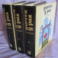 Libros de segunda mano: GUERRA Y PAZ. LEÓN TOLSTOI. EDICIONES ZEUS 1969. 3 VOLÚMENES. Lote 51084218
