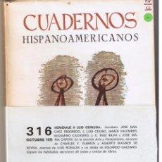 Libros de segunda mano: CUADERNOS HISPANO AMERICANOS. Nº 316. MADRID. OCTUBRE 1976. (P/B7). Lote 51519016