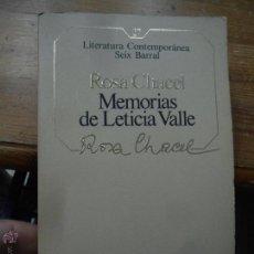 Libri di seconda mano: LIBRO MEMORIAS DE LETICIA VALLE ROSA CHACEL LIT CONTEMPORANEA Nº27 ED. SEIC BARRAL 1985 L-4898-161. Lote 52067947
