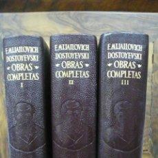 Libros de segunda mano: FIODOR M. DOSTOYEVSKI. OBRAS COMPLETAS. AGUILAR. 3 VOL. 1957-1953. . Lote 52787509