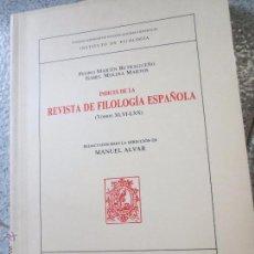 Libros de segunda mano: ÍNDICES DE LA REVISTA DE FILOLOGÍA ESPAÑOLA MANUEL ALVAR AÑO 1991. Lote 53198298