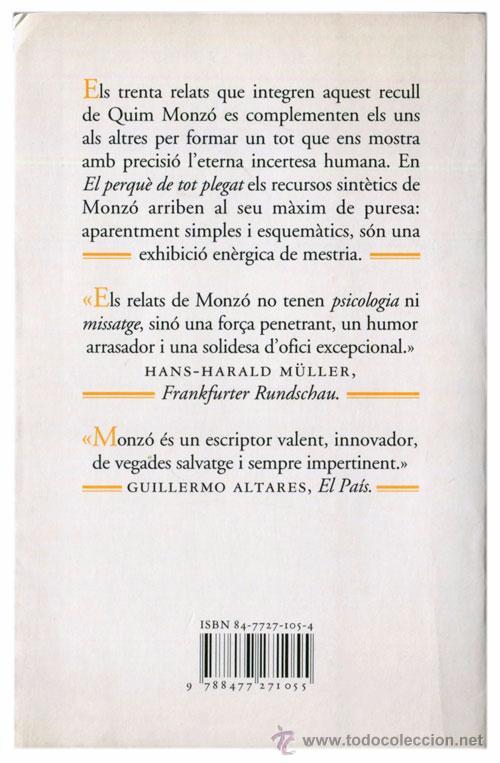 Libros de segunda mano: Quim Monzó - El perquè de tot plegat - Quaderns Crema, Mínima minor 48 (21ª Ed. 1997) - Catalá - Foto 2 - 53850484