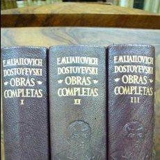 Libros de segunda mano: FIODOR M. DOSTOYEVSKI. OBRAS COMPLETAS. 3 VOLS. AGUILAR. 1961.. Lote 57485830