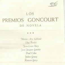 Libros de segunda mano: LOS PREMIOS GONCOURT DE NOVELA. TOMO III.PLAZA & JANES.AUTORES EN FOTO PRINCIPAL. BUENOS AIRES. 1965. Lote 57618515