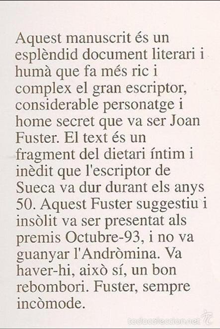 Libros de segunda mano: Dietari inedit 31/VII/54 - 2/X/55 / Joan Fuster. Altea : Aigua de Mar, 1994. 21x15 cm. 252 p. - Foto 2 - 58653965