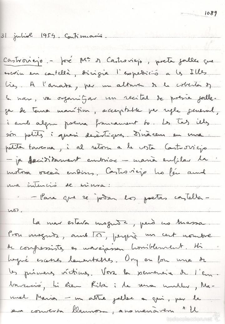 Libros de segunda mano: Dietari inedit 31/VII/54 - 2/X/55 / Joan Fuster. Altea : Aigua de Mar, 1994. 21x15 cm. 252 p. - Foto 3 - 58653965