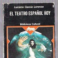 Libros de segunda mano: EL TEATRO ESPAÑOL HOY. LUCIANO GARCÍA LORENZO. EDITORIAL PLANETA. Nº6. 1975. 17,8 X 12 CM. Lote 60743511
