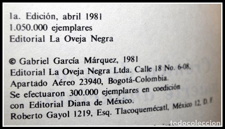Libros de segunda mano: Crónica de una muerte anunciada - Primera Edición - Gabriel García Marquez - Foto 2 - 69550141