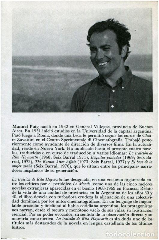 Libros de segunda mano: Manuel Puig - La traición de Rita Hayworth - Seix Barral / Nueva Narrativa Hispánica 1978 - Foto 2 - 96638523