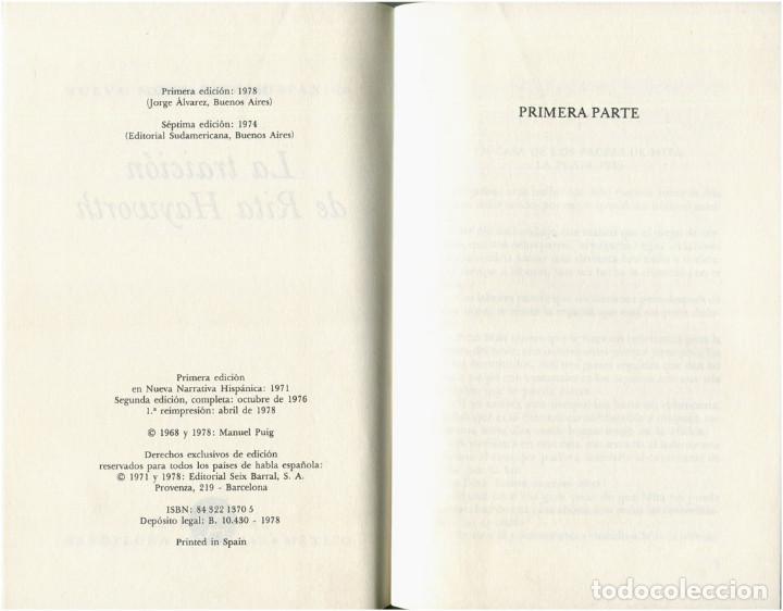 Libros de segunda mano: Manuel Puig - La traición de Rita Hayworth - Seix Barral / Nueva Narrativa Hispánica 1978 - Foto 3 - 96638523