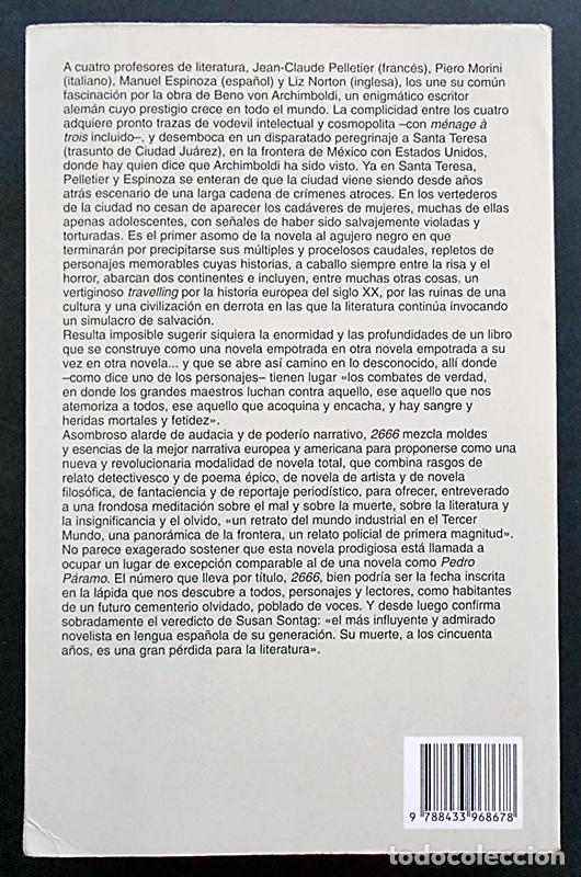 Libros de segunda mano: 2666 - Roberto Bolaño - Anagrama (Narrativas hispánicas) 2004 - Foto 2 - 96742991