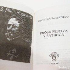 Libros de segunda mano: TOMO Nº 42 DE LA COLECCIÓN CRISOL. EDICIÓN AGUILAR. PROSA FESTIVA Y SATÍRICA DE FRANCISCO DE QUEVEDO. Lote 106191543