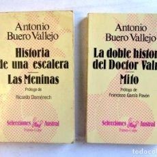Libros de segunda mano: LOTE 2 LIBROS DE ANTONIO BUERO VALLEJO. HISTORIA DE UNA ESCALERA, LAS MENINAS, LA DOBLE HISTORIA DEL. Lote 107503599