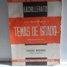 Libros de segunda mano: TEMAS DE EXAMENES DE GRADO ELEMENTAL DE BACHILLERATO 1964. Lote 114386383