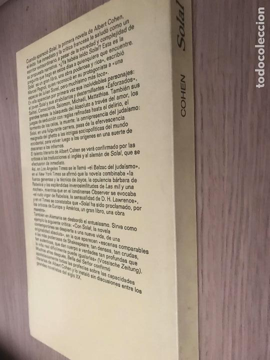 Libros de segunda mano: ALBERT COHEN. SOLAL. ANAGRAMA - Foto 3 - 121125283